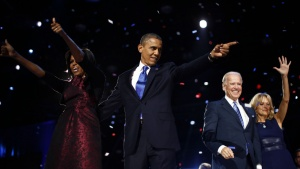 U.S. President Barack Obama (2nd L) celebrates with his wife Michelle (L), his Vice President Joe Biden and his wife Jill (R) after winning the U.S. presidential election in Chicago, Illinois, November 7, 2012. REUTERS/Jason Reed (UNITED STATES  - Tags: POLITICS ELECTIONS USA PRESIDENTIAL ELECTION)  