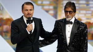 Actors Leonardo DiCaprio (L) and Amitabh Bachchan, cast members of the film 'The Great Gatsby', attend the opening ceremony of the 66th Cannes Film Festival in Cannes May 15, 2013. REUTERS/Eric Gaillard