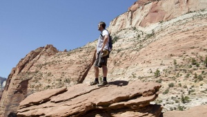 Hemophilia patient Travis Roop is shown during his 2012 visit to Zion National Park in Utah, in this photo released to Reuters on February 26, 2014. For Roop,  being able to get life-saving infusions of a blood clotting agent every two weeks, instead of rushing to treat a bleeding episode, meant he could jog for the first time. To match Feature HEALTH-HEMOPHILIA/ REUTERS/Gerry Roop/Handout via Reuters