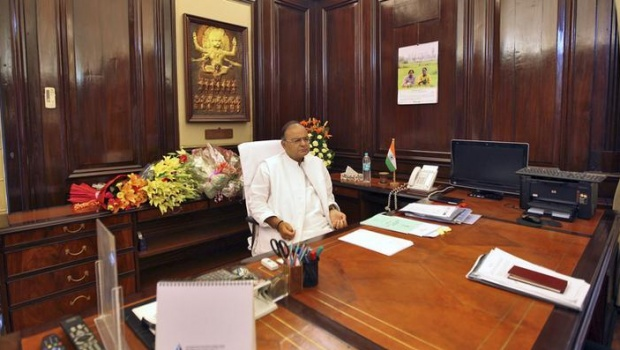 Finance Minister Arun Jaitley sits inside his office at the finance ministry in New Delhi May 27, 2014. REUTERS/Stringer
