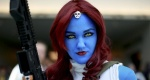 Allie Shaughnessy, who is dressed as Mystique, during the 2014 Comic-Con International Convention in San Diego, California July 24, 2014. REUTERS/Sandy Huffaker