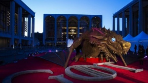 "A dragon statue stands on a red carpet in preparation for the season four premiere of the HBO series ""Game of Thrones"" in New York March 18, 2014. REUTERS/Lucas Jackson/Files"