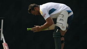 South Africa's Jacques Kallis adjusts his bat's rubber grip during a practice session ahead of their final One Day International cricket match against Sri Lanka in Hambantota July 11, 2014. REUTERS/Dinuka Liyanawatte