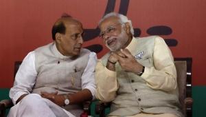 Narendra Modi and Rajnath Singh are seen in New Delhi in this April 7, 2014 file photo. REUTERS/Anindito Mukherjee/Files