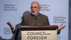 India's Prime Minister Narendra Modi speaks at the Council on Foreign Relations in New York, during his visit to the United States September 29, 2014. REUTERS/Lucas Jackson