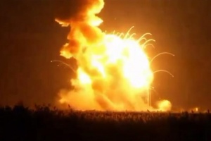 An unmanned Antares rocket is seen exploding seconds after lift off from a commercial launch pad in this still image from NASA video at Wallops Island, Virginia October 28, 2014. REUTERS/NASA TV/Handout