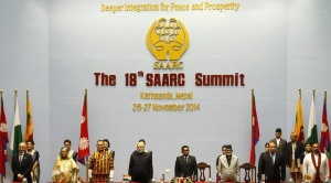 (Front L-R) Afghanistan's President Ashraf Ghani, Bangladesh's Prime Minister Sheikh Hasina, Bhutan's Prime Minister Tshering Tobgay, India's Prime Minister Narendra Modi, Maldives' President Abdulla Yameen, Nepal's Prime Minister Sushil Koirala, Pakistan's Prime Minister Nawaz Sharif and Sri Lanka's President Mahinda Rajapaksa attend the opening session of 18th South Asian Association for Regional Cooperation (SAARC) summit in Kathmandu November 26, 2014. REUTERS/Narendra Shrestha/Pool
