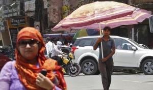 A man carrying a large umbrella walks along a road on a hot summer day in Allahabad, May 29, 2015. REUTERS/Jitendra Prakash