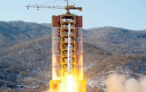 A North Korean long-range rocket is launched into the air at the Sohae rocket launch site, North Korea, in this photo released by Kyodo February 7, 2016. REUTERS/Kyodo