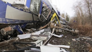The wreckage of a carriage is pictured at the site of two crashed trains near Bad Aibling in southwestern Germany, February 9, 2016. REUTERS/Josef Reisner