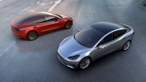 Tesla Motors' mass-market Model 3 electric cars are seen in this handout picture from Tesla Motors on March 31, 2016. REUTERS/Tesla Motors/Handout via Reuters/Files