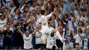 Football Soccer - Real Madrid v Manchester City - UEFA Champions League Semi Final Second Leg - Estadio Santiago Bernabeu, Madrid, Spain - 4/5/16. Real Madrid's Gareth Bale celebrates scoring their first goalReuters / Juan Medina/ Livepic