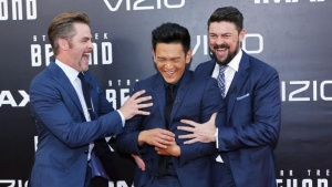 "Actors Chris Pine (L), John Cho (C) and Karl Urban arrive for the world premiere of ""Star Trek Beyond"" at Comic Con in San Diego, California U.S., July 20, 2016.  REUTERS/Mike Blake"