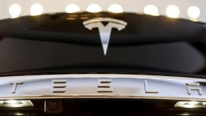 A Tesla logo adorns a 'Model S' car in the dealership in Berlin, Germany, November 18, 2015. REUTERS/Hannibal Hanschke/File Photo