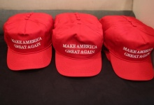 """Republican presidential nominee Donald Trump """"Make America Great Again"""" hats are pictured during a meeting with Trump's Hispanic Advisory Council at Trump Tower in the Manhattan borough of New York, U.S., August 20, 2016. REUTERS/Carlo Allegri"""