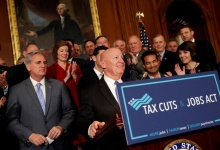 """Rep. Kevin Brady (R-TX), Chairman of the House Ways and Means Committee, speaks at news conference announcing the passage of the """"Tax Cuts and Jobs Act"""" at the U.S. Capitol in Washington, U.S., November 16, 2017. REUTERS/Aaron P. Bernstein"""