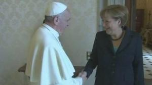 Germany's Merkel visits Pope, urges tougher market control