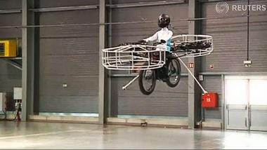Flying bike unveiled in Prague