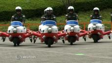Plane shaped scooters take off to mark 60 years for Japan's Air Self Defence Force