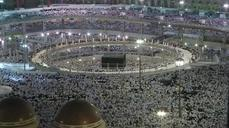 Pilgrims pray in the holy mosque in Mecca