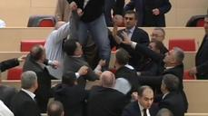 Georgain parliamentary punch-up