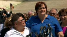 Plaintiffs, supporters of historic gay marriage case gather at Supreme Court steps