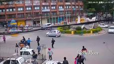 Security camera video shows monument toppled as Nepal quake strikes