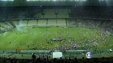 Soccer fans storm the field in Northeastern Brazil