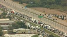 Big rig crashes, explodes on Dallas interstate