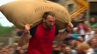 Some heavy lifting at the Woolsack Races
