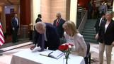 Biden signs condolence book at Turkish embassy