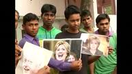 Celebrating Clinton's nomination in a village in India