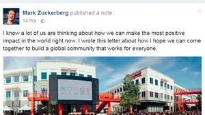 Facebook CEO's bid to reboot globalisation