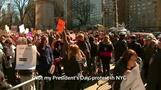 「私の大統領の日ではない」、NYでトランプ氏に抗議(20日)