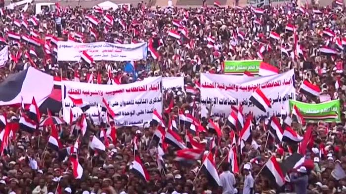 Yemenis take to streets of Sanaa to mark two years since of start of war