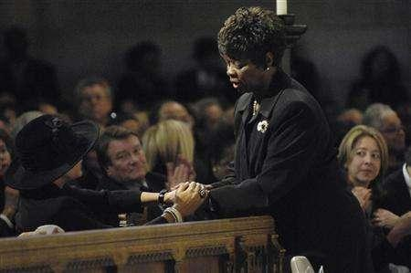 The widow of Ed Bradley, Patricia Blanchet (L), greets singer Irma Thomas, during a memorial service for 60 Minutes correspondent and CBS newsman, Ed Bradley, at Riverside Church in New York November 21, 2006. REUTERS/Jeffery Neira/Handout