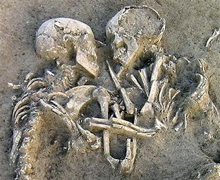 A pair of human skeletons lie entwined at an Neolithic archaelogical dig site near Mantova, Italy, in a photo released February 6, 2007. In a Valentines Day gift to the country, scientists said they are determined to jointly remove and preserve the remains of the couple buried 5,000 to 6,000 years ago, their arms still wrapped around each other in an enduring embrace. REUTERS/Enrico Pajello/Handout