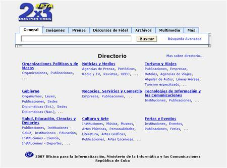 A screenshot of http://www.infosoc.cu/buscador/, taken on February 16, 2007. Cuba built an Internet search engine that allows users to trawl through speeches by Cuban leader Fidel Castro and other government sites, but does not browse Web pages outside the island. REUTERS/http://www.infosoc.cu/buscador/