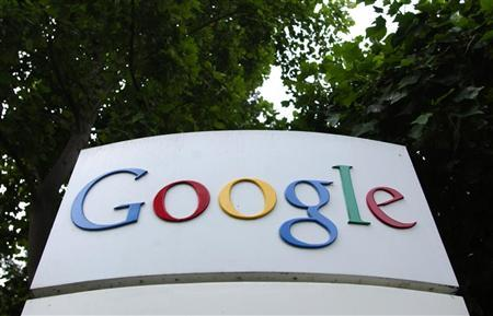 The logo of Google Inc. is seen outside their headquarters building in Mountain View, California in a file photo from August 18, 2004. IBM <IBM.N> has reached a deal with Google Inc. <GOOG.O> to bring the consumer Internet into the office by piping YouTube and thousands of other Web programs into IBM software used by millions of office workers. REUTERS/Clay McLachlan