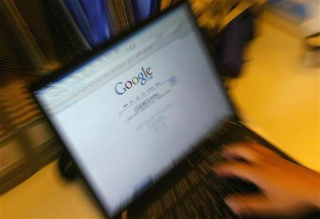 A file photo of a laptop screen showing the homepage of Google in Beijing June 8, 2006. Google is confident its popular video-sharing site YouTube and other Web services Google offers have strong legal protections under current copyright law, company attorneys said on Tuesday. REUTERS/Jason Lee