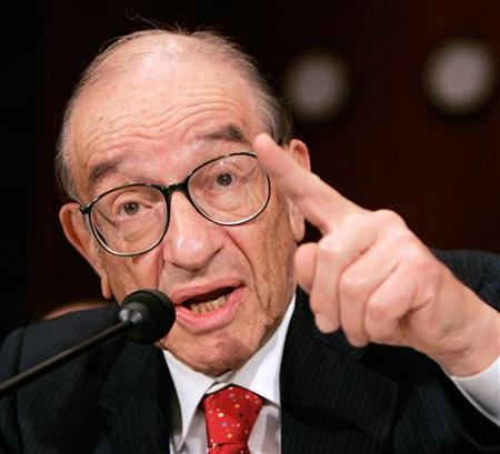Former Chairman of the Federal Reserve Alan Greenspan testifies during his final scheduled testimony before the Senate Banking Committee on Capitol Hill in this July 21, 2005 file photo. Ben Bernanke has promised greater transparency and on Wednesday made one thing clear: the chairman of the Federal Reserve doesn't agree with his former boss on the economic outlook. REUTERS/Larry Downing