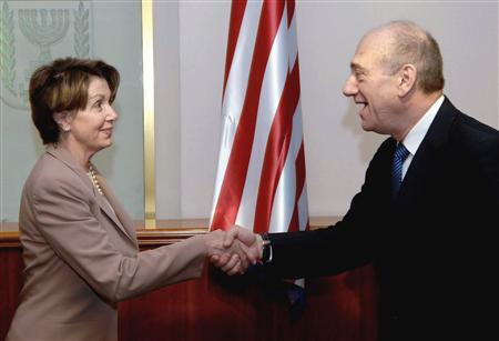 Israeli Prime Minister Ehud Olmert shakes hands with Speaker of the House Nancy Pelosi during their meeting in Jerusalem April 1, 2007. REUTERS/Moshe Milner/GPO/Handout