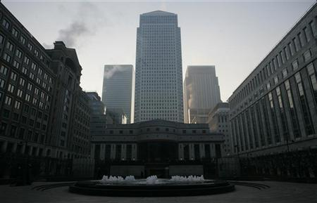 A general view of the Canary Wharf district of London in this file photo taken March 27, 2007. The biggest rise in foreign business in nearly nine years spurred strong growth by the finance industry early this year in another sign London could be catching up with New York as the world's top financial centre. REUTERS/Jonathan Bainbridge