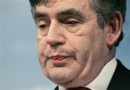 Chancellor of the Exchequer and IMFC Chairman Gordon Brown pauses during a news briefing on the second day of the IMF and World Bank spring meeting in Washington April 14, 2007. REUTERS/Molly Riley