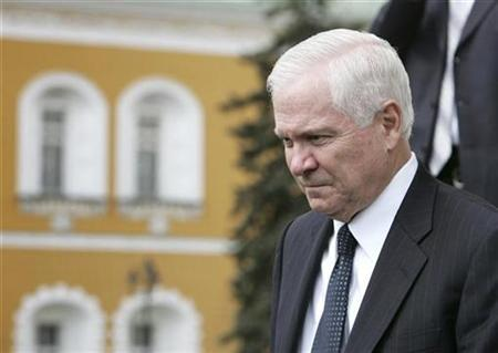 Defense Secretary Robert Gates leaves Moscow's Kremlin after his meeting with Russian President Vladimir Putin, April 23, 2007. REUTERS/Pool/Stringer