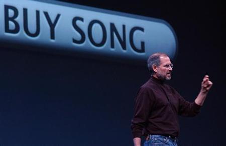 Apple CEO Steve Jobs is shown talking at the launch of the Windows version of the iTunes software in San Francisco, in this October 16, 2003 file photo. Jobs indicated on Wednesday he is unlikely to give in to calls from the music industry to add a subscription-based model to the wildly popular iTunes online music store. REUTERS/Tim Wimborne
