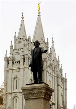 A statue of Brigham Young stands in front of the Mormon Temple in downtown Salt Lake City in this January 22, 2002 file photo. A federal appeals court dismissed a case on Monday in which a Las Vegas attorney argued his Mormon religion should exempt him from Social Security taxes. REUTERS/Rick Wilking