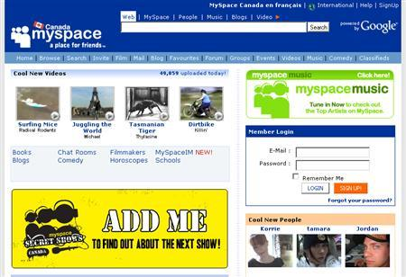 A screenshot of MySpace.com, taken on May 21, 2007. Popular Internet social network MySpace said on Monday it reached an accord with eight state attorneys general and has worked out a legal mechanism to hand over information on convicted sex offenders found on its service. REUTERS/www.myspace.com