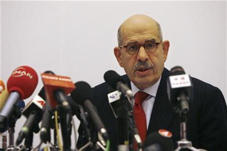 International Atomic Energy Agency (IAEA) Director General Mohamed ElBaradei answers a question during a news conference at a hotel in Beijing, March 14, 2007. The United States and some European allies plan to complain to ElBaradei about his proposal for Iran to retain some nuclear enrichment activities, a U.S. official said on Tuesday. REUTERS/Claro Cortes IV