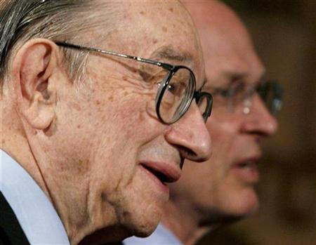 Former Chairman of the Federal Reserve Alan Greenspan (L) and U.S. Treasury Secretary Henry Paulson attend the Conference on U.S. Capital Market Competitiveness in Washington March 13, 2007. Greenspan said on Wednesday he feared a ''dramatic contraction'' in Chinese stocks but said the global economy may be able to shrug off a drop in asset prices. REUTERS/Jim Young